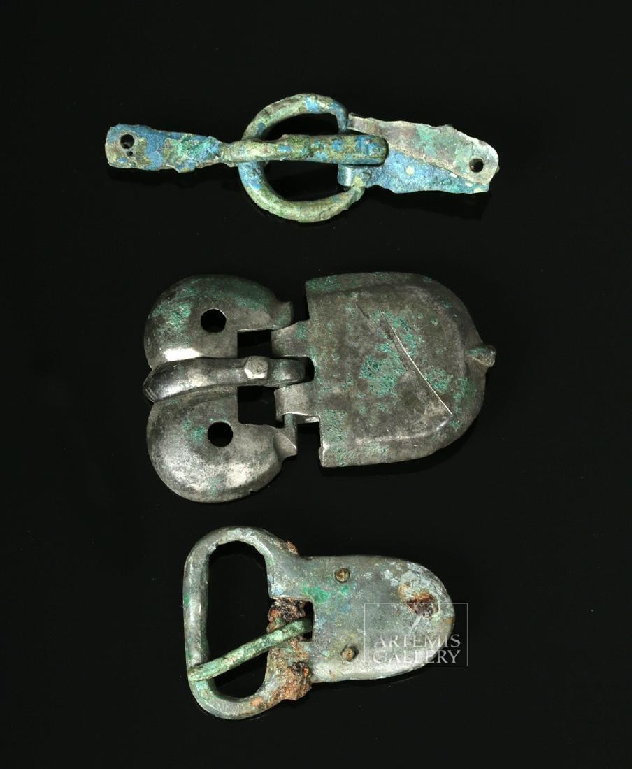 Trio of Viking Bronze Belt Buckles