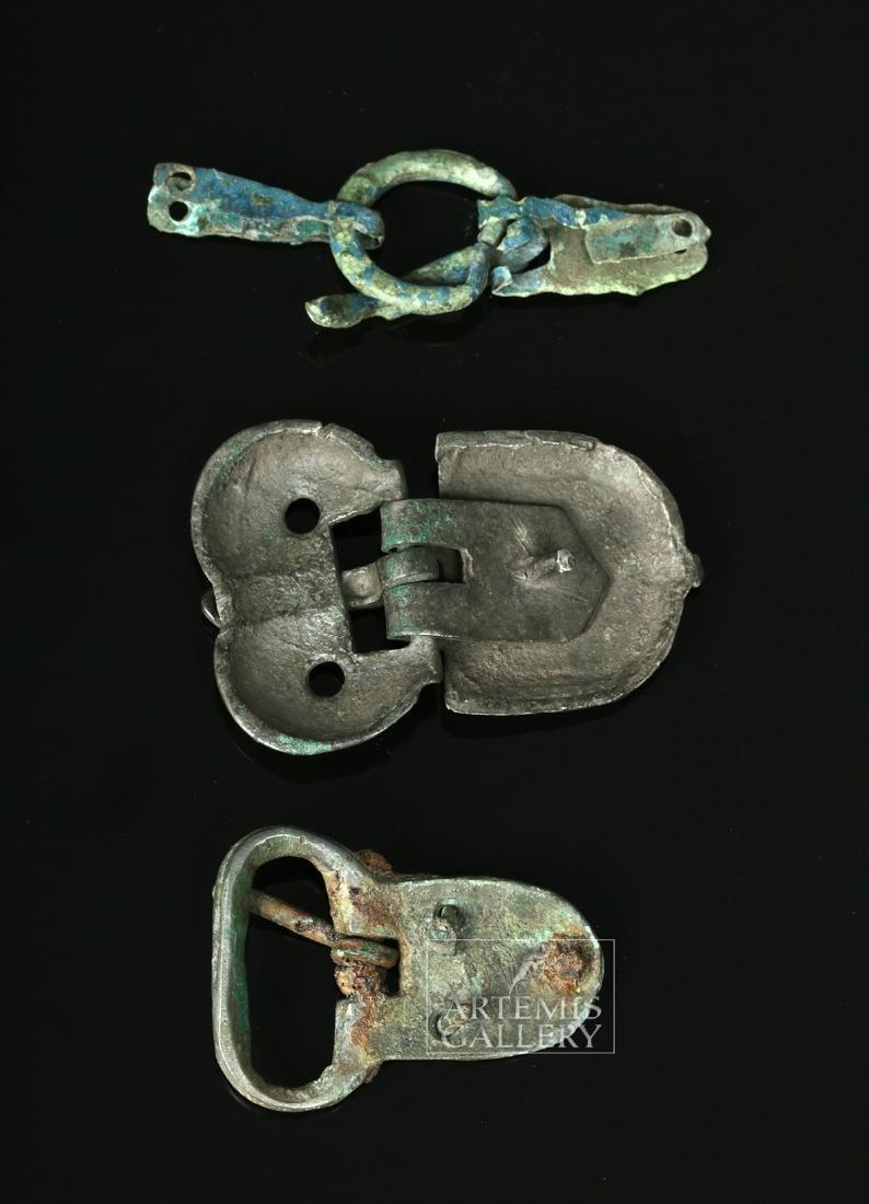Trio of Viking Bronze Belt Buckles - 2