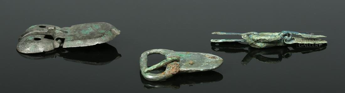 Trio of Viking Bronze Belt Buckles - 3