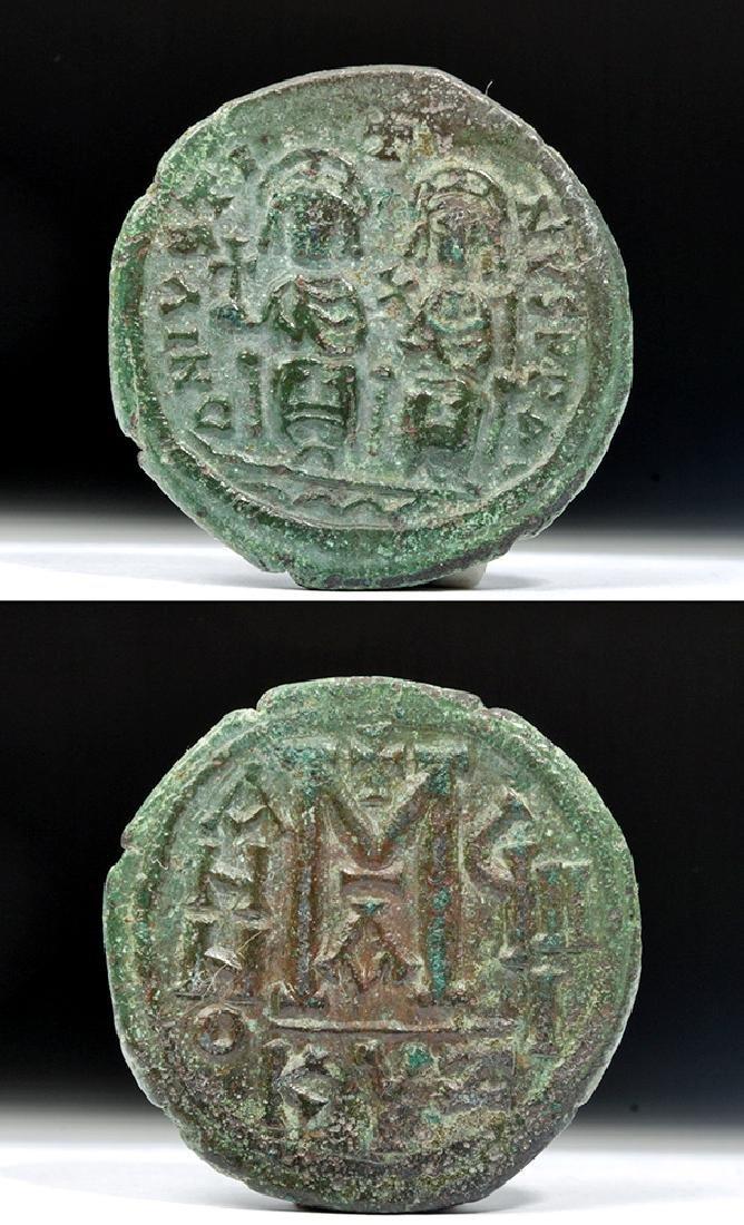 Byzantine AE Bronze Coin of Justin II