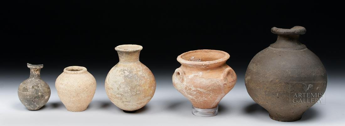 Lot of 5 Ancient Holy Land Pottery Jars