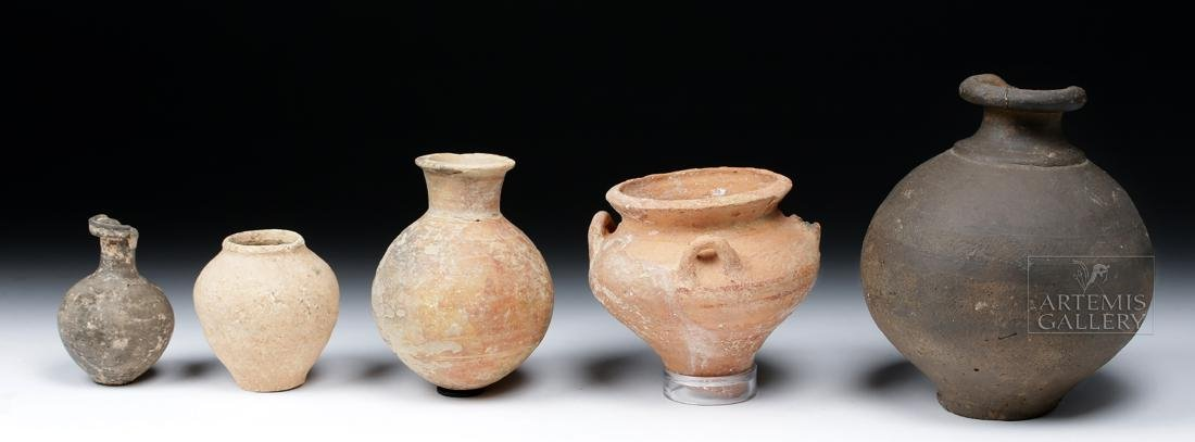 Lot of 5 Ancient Holy Land Pottery Jars - 2
