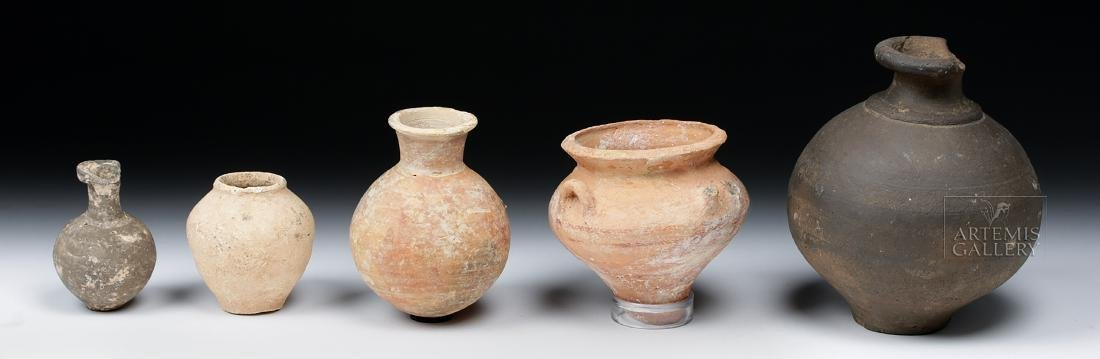 Lot of 5 Ancient Holy Land Pottery Jars - 3