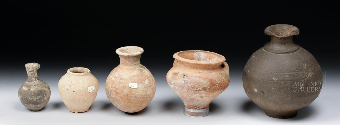 Lot of 5 Ancient Holy Land Pottery Jars - 4