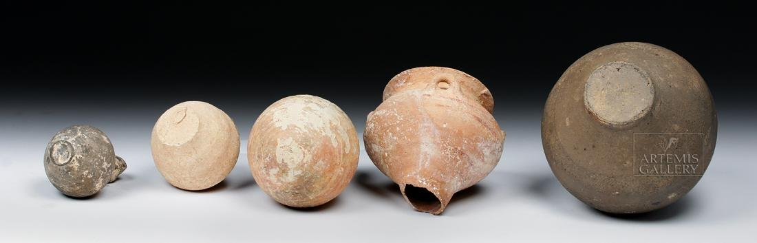 Lot of 5 Ancient Holy Land Pottery Jars - 6