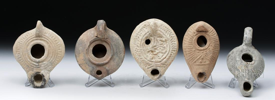 Lot of 5 Holy Land Terracotta Oil Lamps