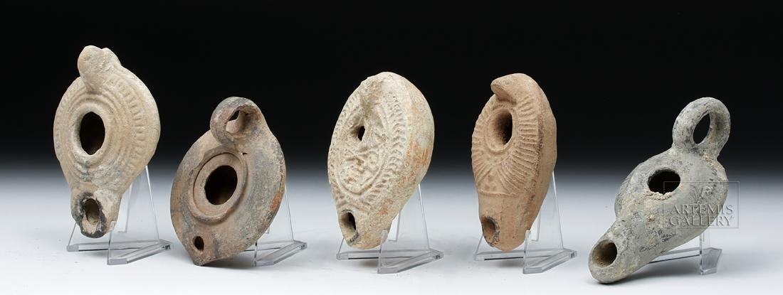 Lot of 5 Holy Land Terracotta Oil Lamps - 2