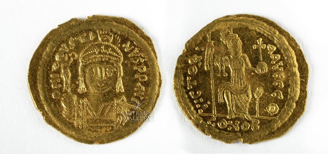 Byzantine Gold AU Solidus Emperor Justin II - 4.6 g