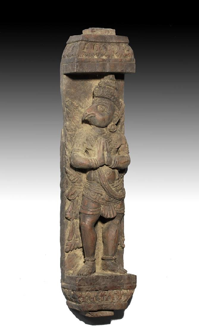 18th C. Nepalese Wood Panel with Garuda - 4