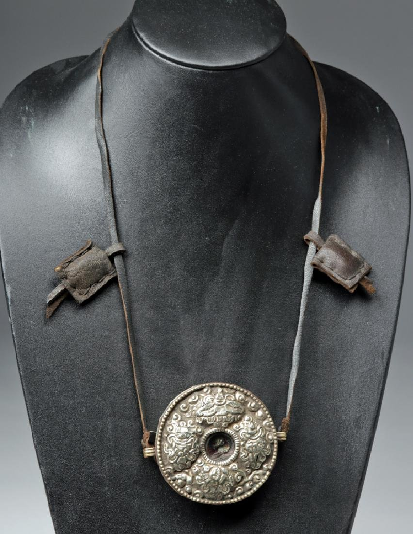 Late 19th C. Tibetan Buddhist Metal & Copper Necklace