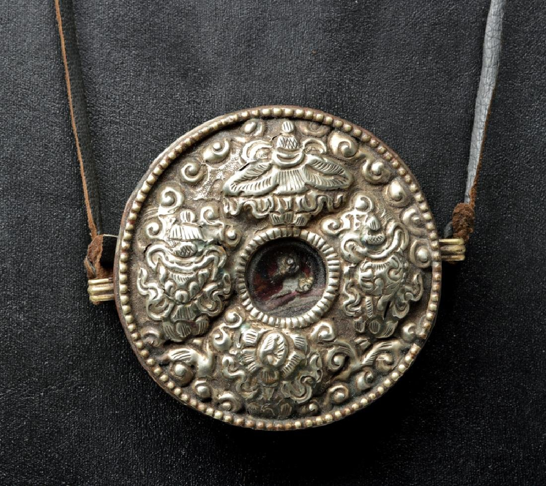 Late 19th C. Tibetan Buddhist Metal & Copper Necklace - 2