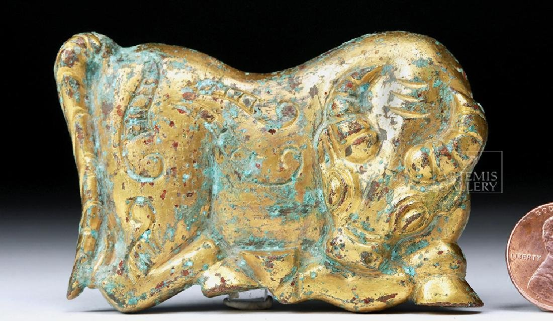 Chinese Ordos Gilded Bronze Attachment - Bull - 5