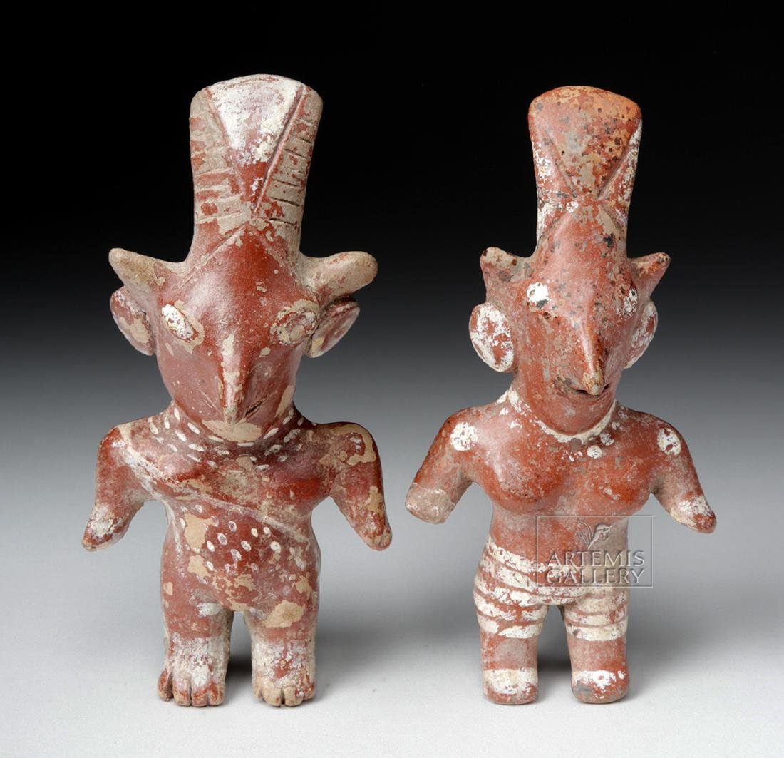 Pair of Jalisco Pottery Standing Sheepface Figures