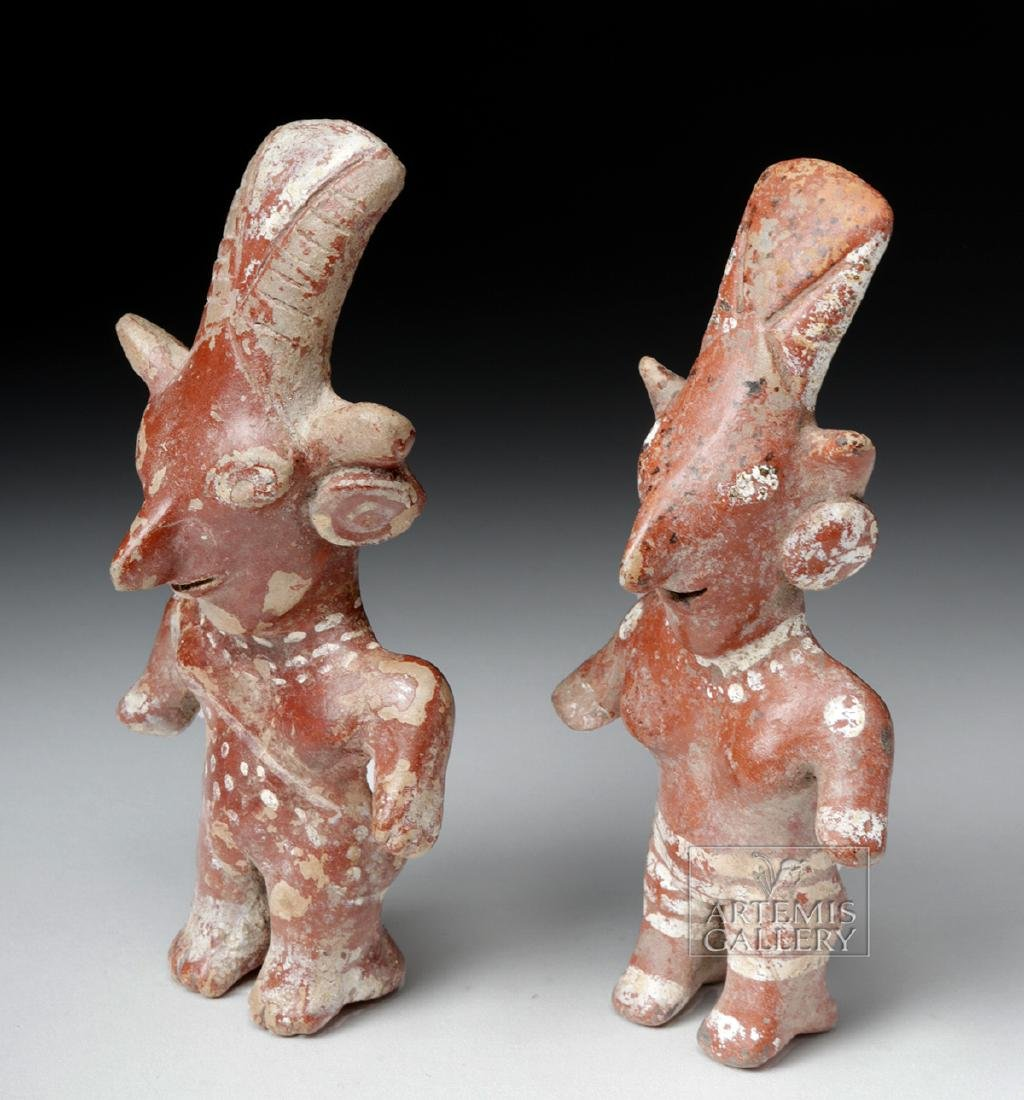 Pair of Jalisco Pottery Standing Sheepface Figures - 2