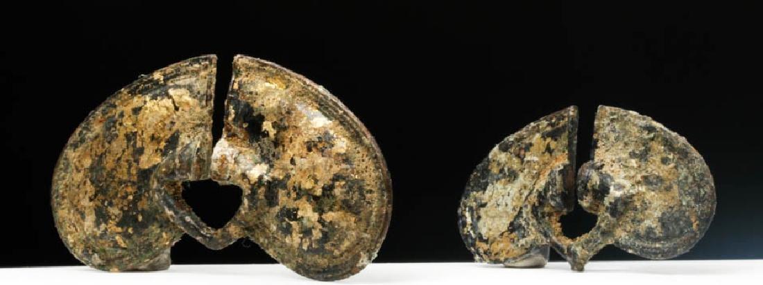 Pair of Sinu Tumbaga Bronze Nose Rings - 30.1 g. - 2