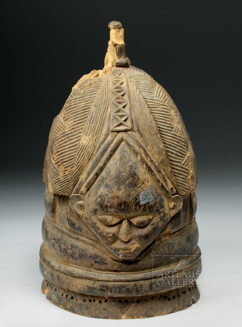 20th C. Mende Bundu Wooden Helmet Mask