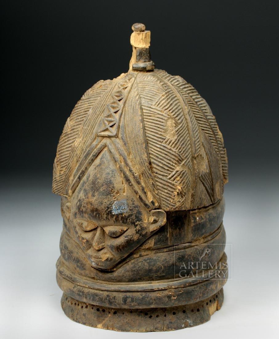 20th C. Mende Bundu Wooden Helmet Mask - 2