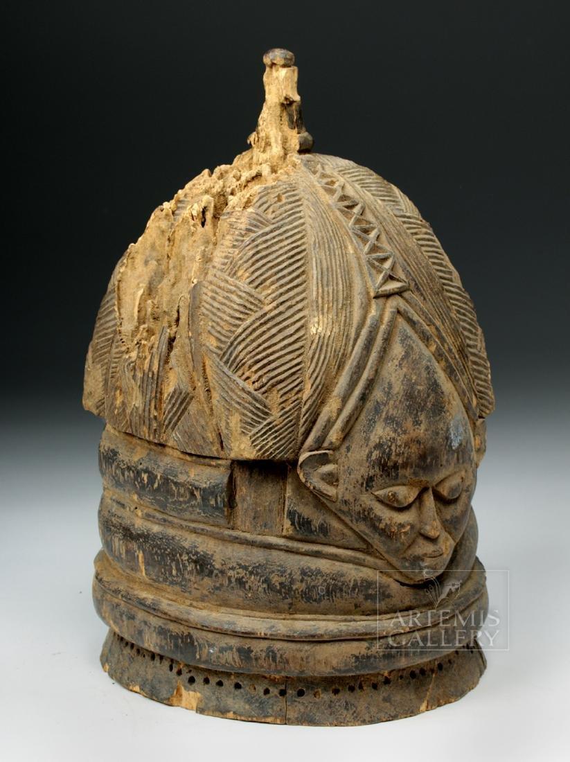 20th C. Mende Bundu Wooden Helmet Mask - 4