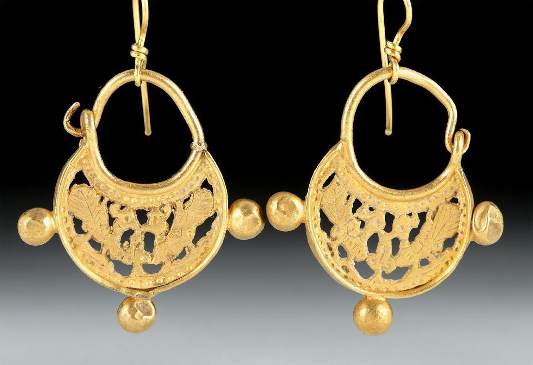 Byzantine 16K Gold Earrings w/ Peacocks, 15.1 g