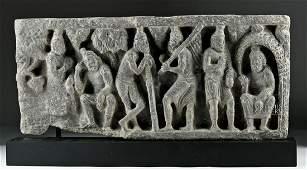 Gandharan Schist Relief Panel  Figural Scene