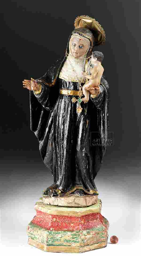 19th C. Mexican Wood Santo - St. Margaret of Antioch