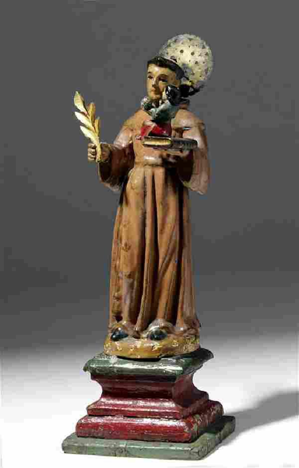 19th C. Mexican Wood Santo - Saint Anthony of Padua