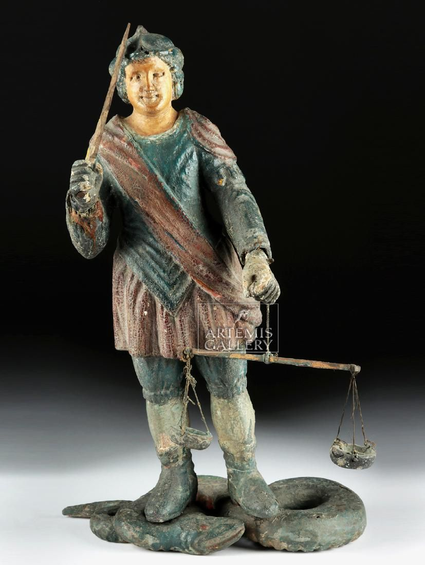 19th C. Mexican Wood Santo - Michael w/ Scales & Sword