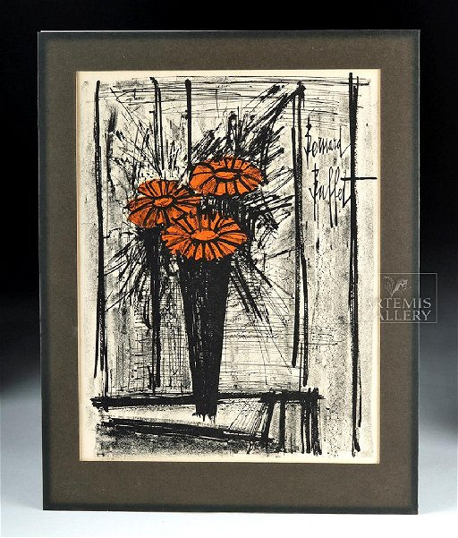 Astonishing 1968 Original Lithograph Flowers Bernard Buffet Download Free Architecture Designs Scobabritishbridgeorg
