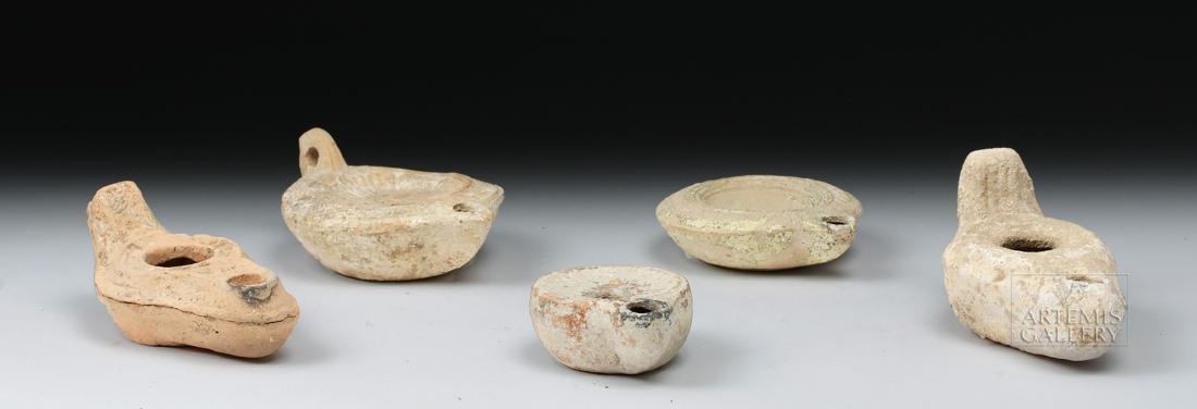 Lot of 5 Ancient Roman / Byzantine Terracotta Oil Lamps - 4