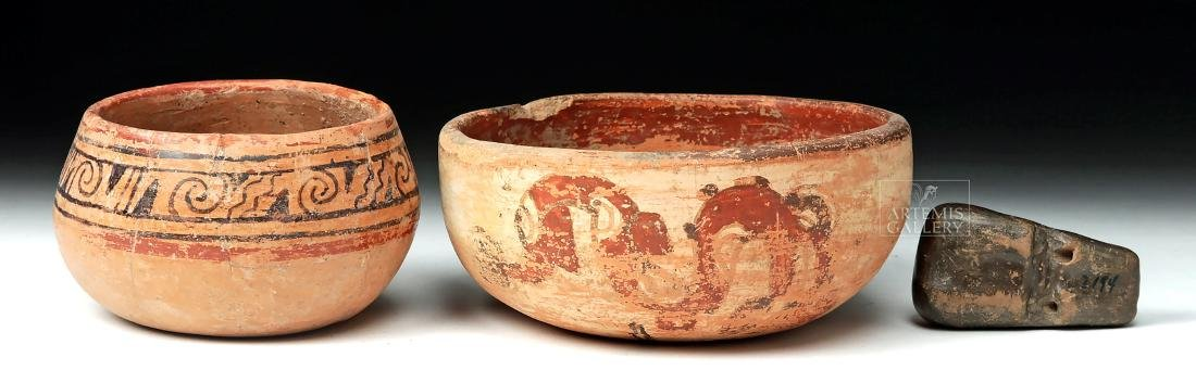Pair of Mayan Pottery Bowls & Chavin Pottery Whistle