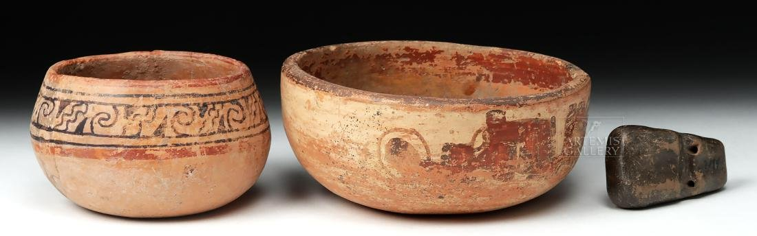 Pair of Mayan Pottery Bowls & Chavin Pottery Whistle - 3