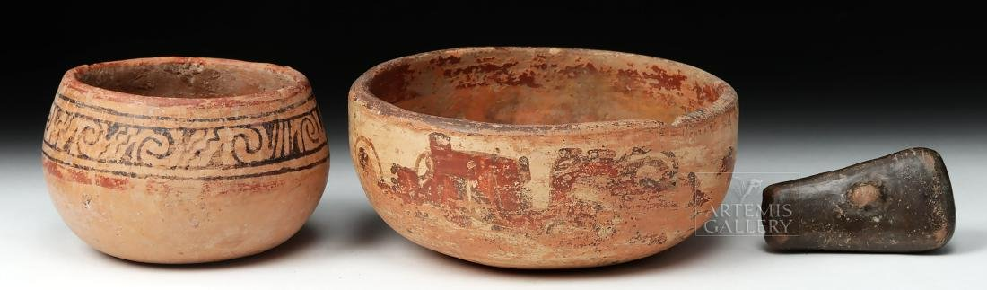 Pair of Mayan Pottery Bowls & Chavin Pottery Whistle - 4