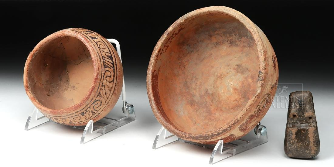 Pair of Mayan Pottery Bowls & Chavin Pottery Whistle - 5