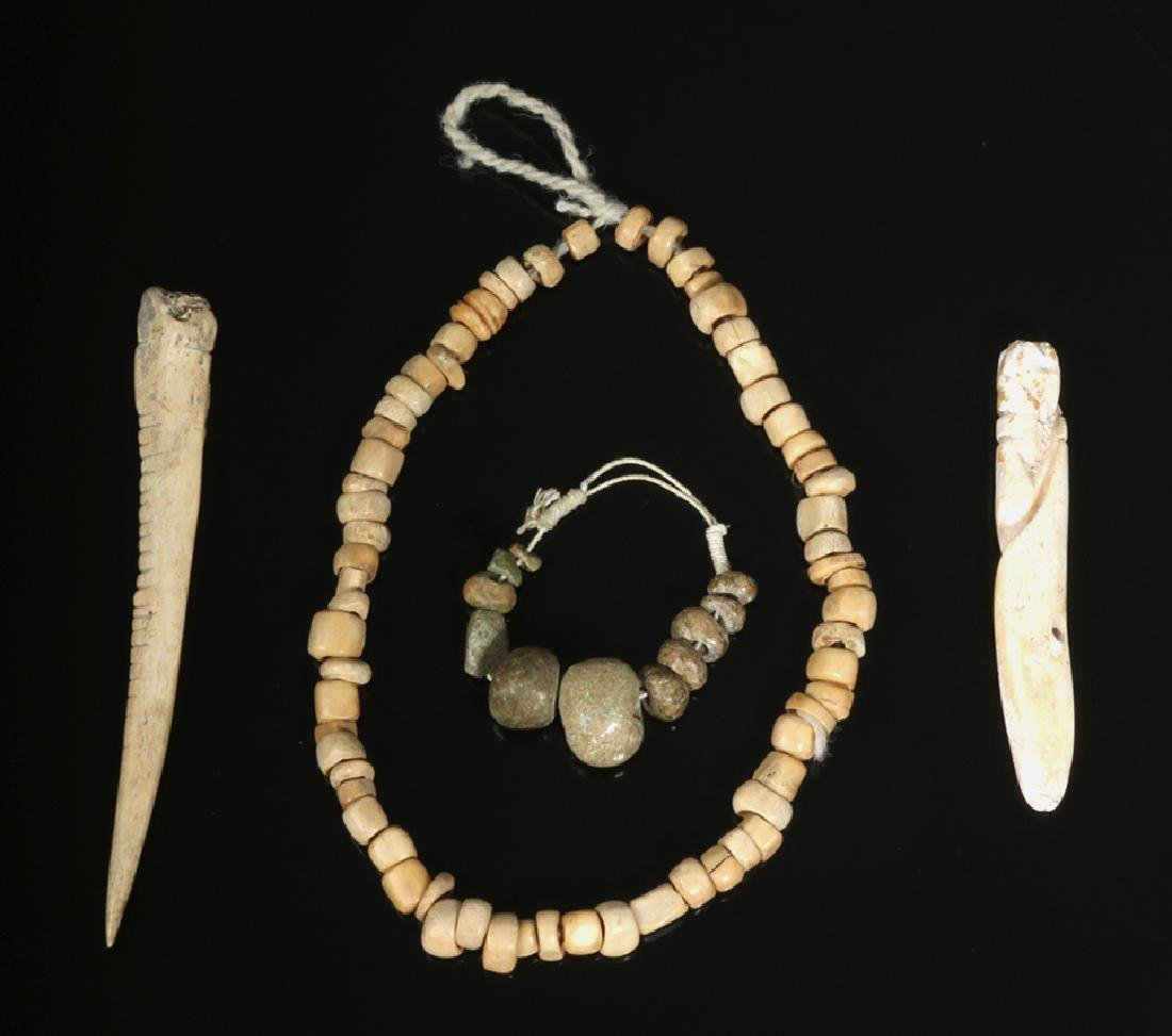 Pre-Columbian Bone Bead Necklace + Jade Beads