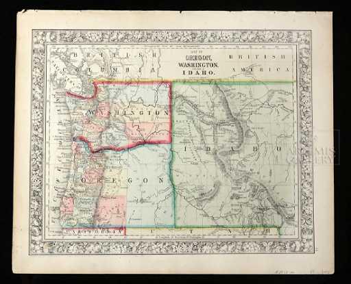 Mitchell Map Of Oregon Washington Part Of Idaho 1860