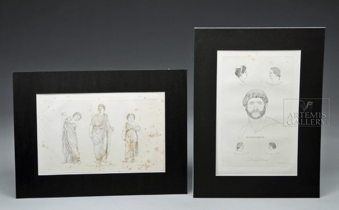 British Engraving Pair - T Baxter 1810 - Romans, Ex MFA