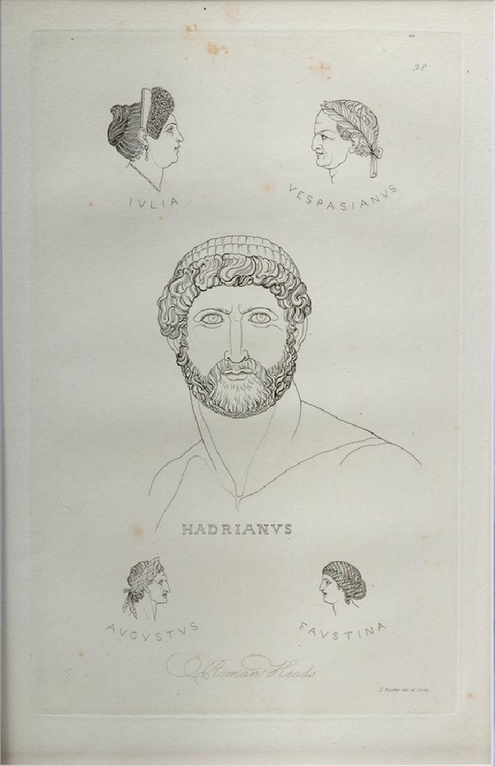 British Engraving Pair - T Baxter 1810 - Romans, Ex MFA - 2