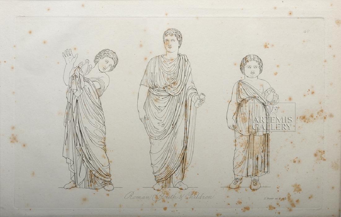 British Engraving Pair - T Baxter 1810 - Romans, Ex MFA - 3