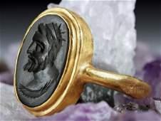 Ancient Roman 18K Gold Ring w Jasper Intaglio