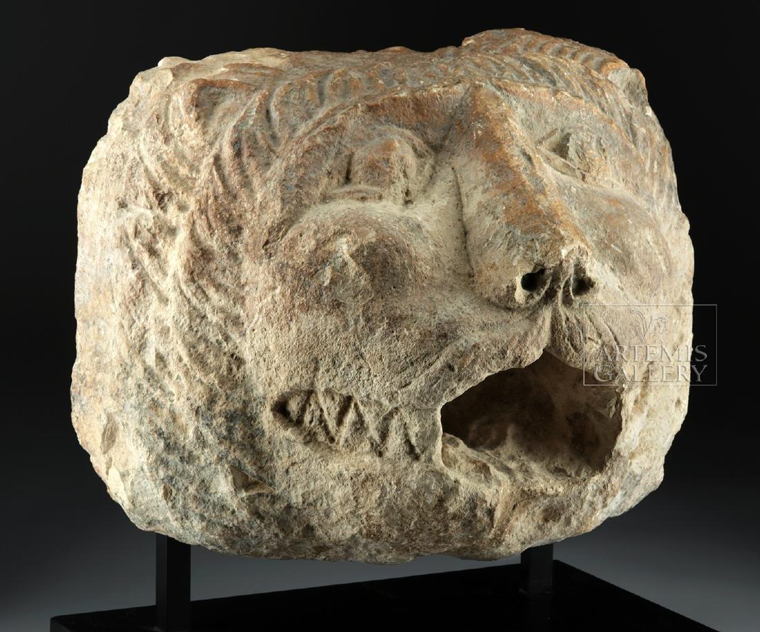 Large / Impressive Roman Stone Lion Head Spout