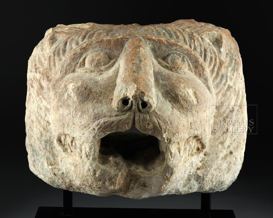 Large / Impressive Roman Stone Lion Head Spout - 2