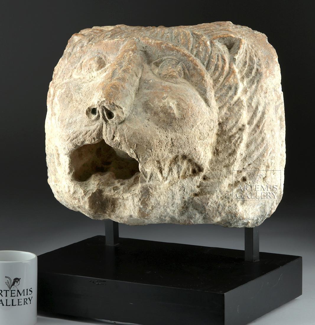 Large / Impressive Roman Stone Lion Head Spout - 3