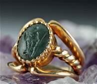 Roman Jasper Intaglio in Modern 16K Gold Ring