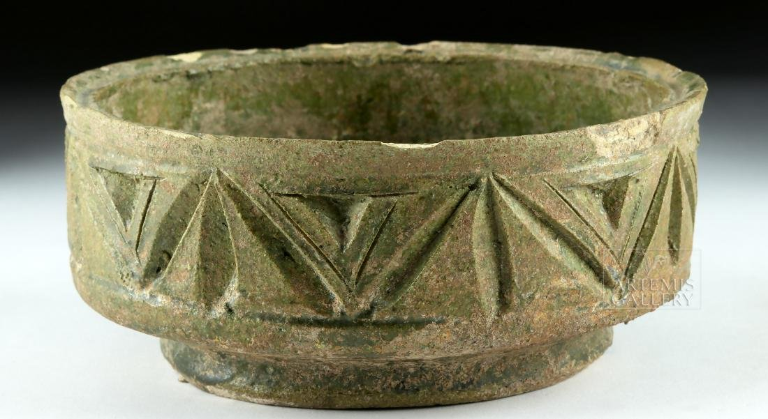 Roman Green-Glazed Pottery Bowl w/ Incised Design