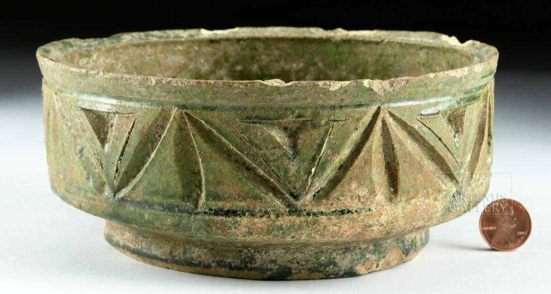 Roman Green-Glazed Pottery Bowl w/ Incised Design - 2