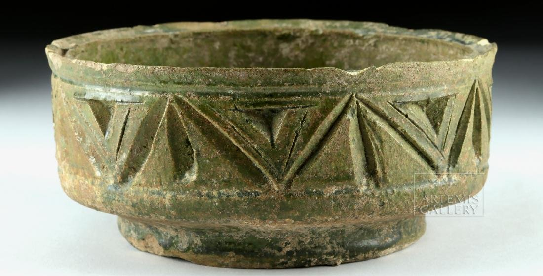 Roman Green-Glazed Pottery Bowl w/ Incised Design - 3
