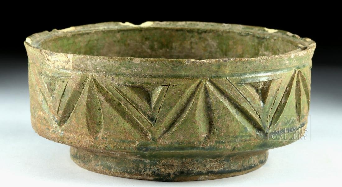Roman Green-Glazed Pottery Bowl w/ Incised Design - 4