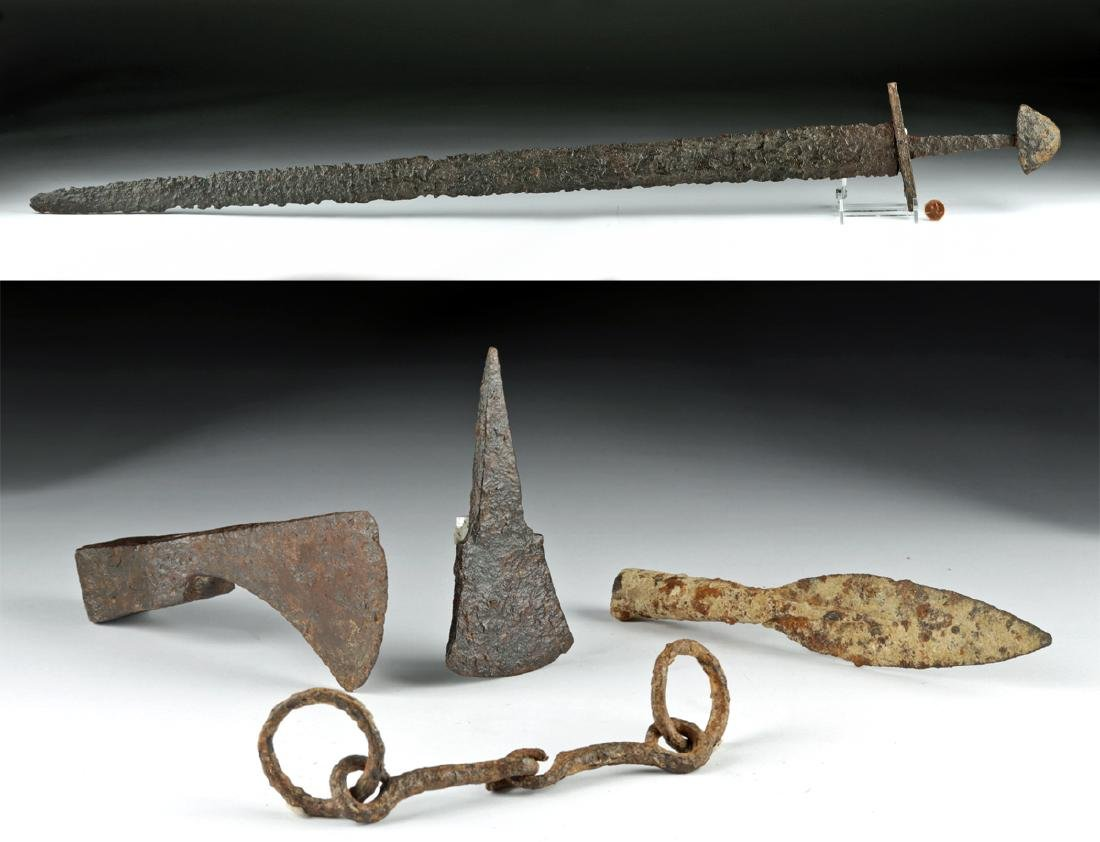 Viking Hoard - Iron Sword, Bit, Spear, Axe, & Chisel