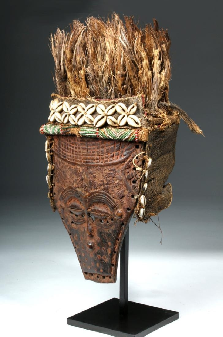 African Lele Wood Mask w/ Shells, Palm Fronds
