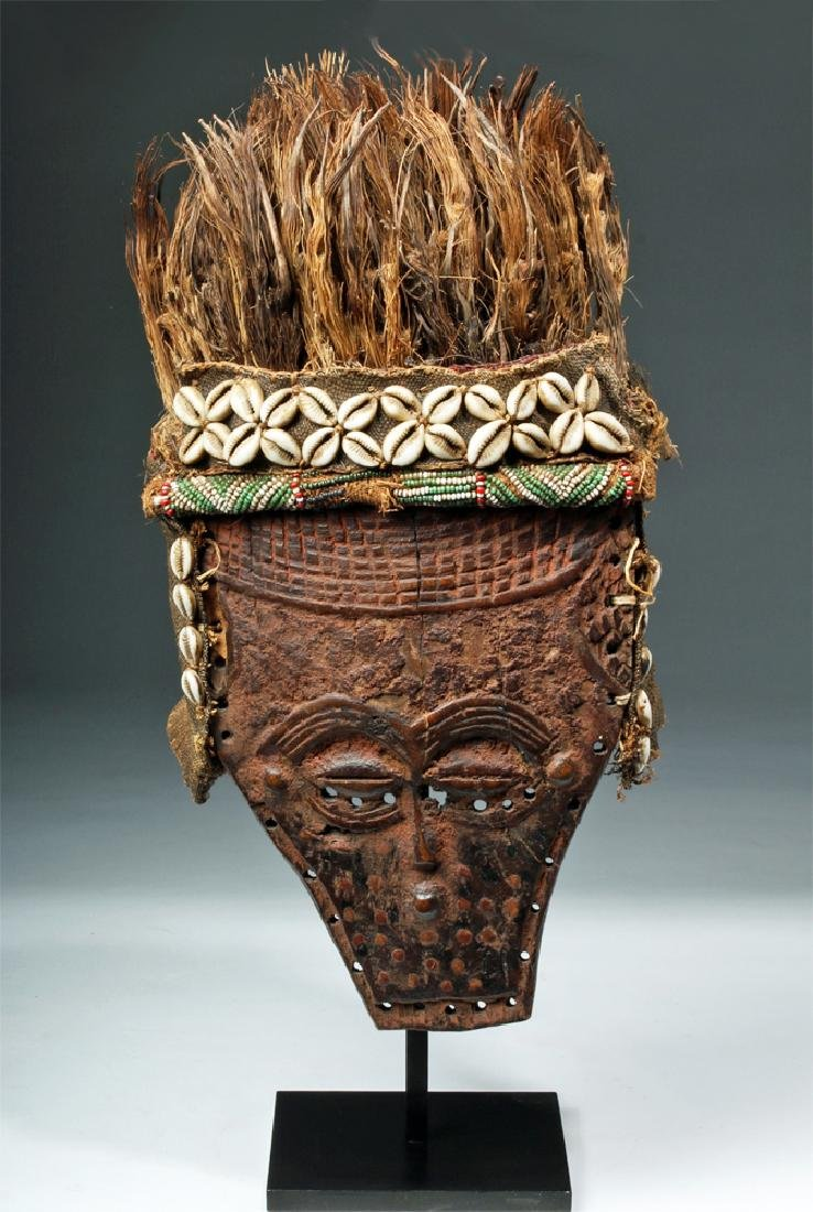 African Lele Wood Mask w/ Shells, Palm Fronds - 2